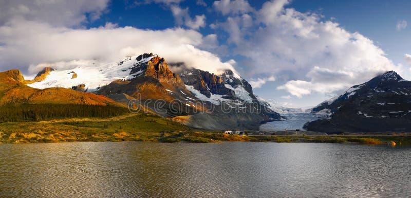 Mt. Athabasca Glacier Lake Sunset Icefields royalty free stock photo