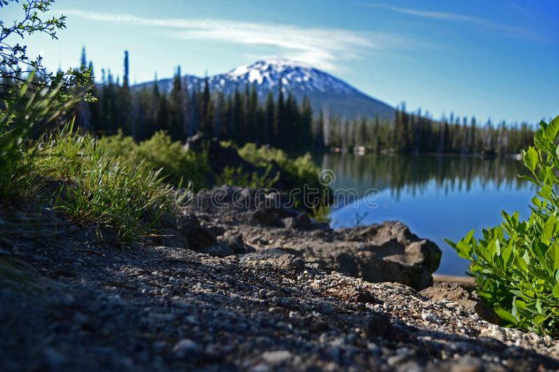 Mt. Bachelor From Lake stock photo