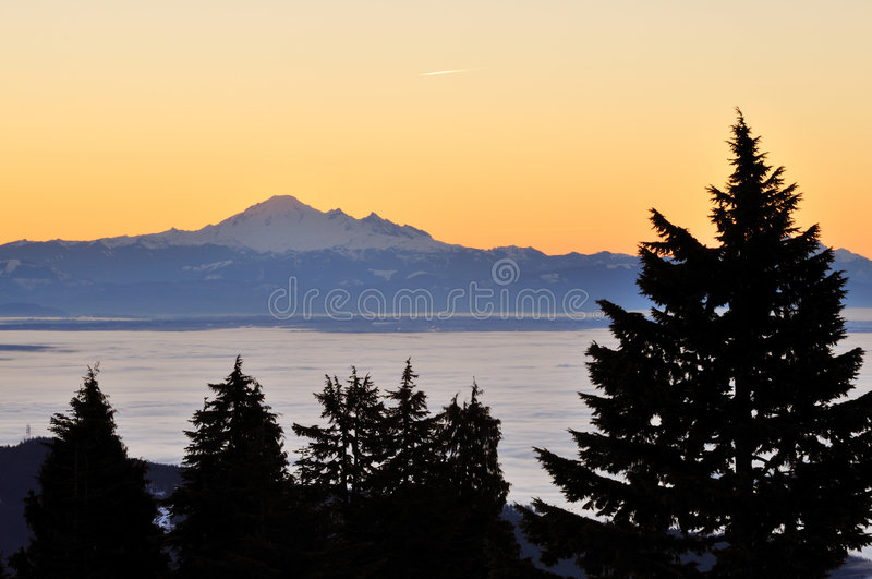 Mt. baker at dawn. Viewed from mt. seymour royalty free stock photography