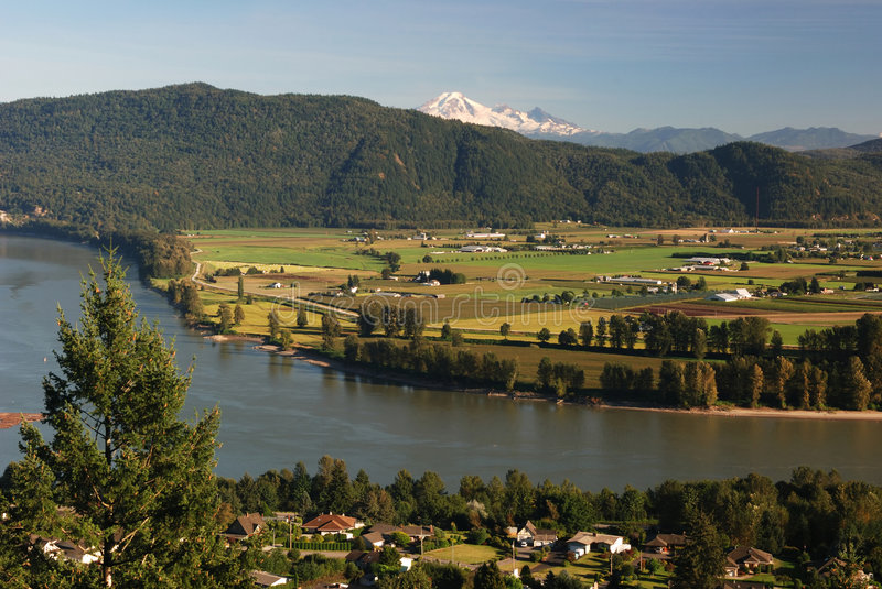 Mt. baker and fraser valley. In the afternoon royalty free stock image