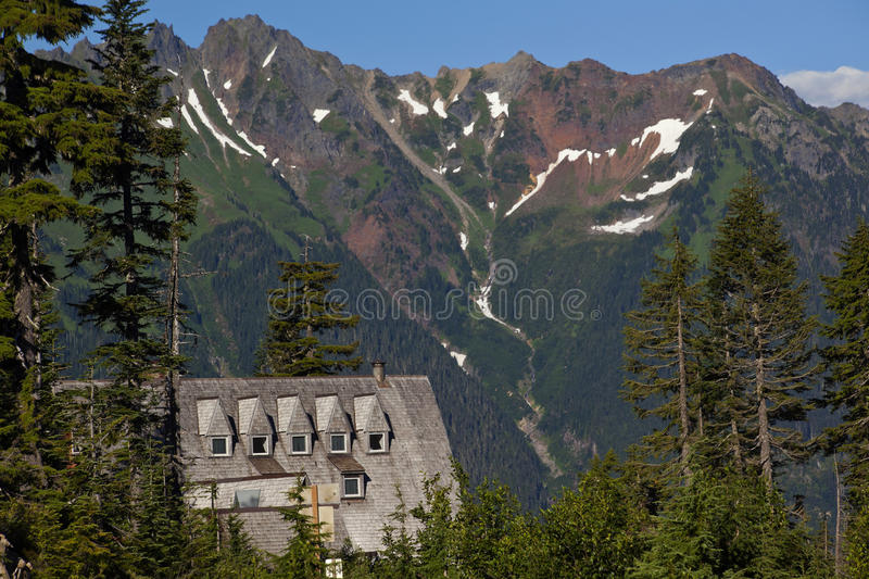 Mt Baker Lodge Red Snow Mountains Washington royalty free stock images