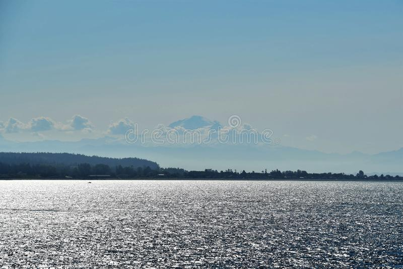 Mt. Baker on the morning sea.  royalty free stock photos
