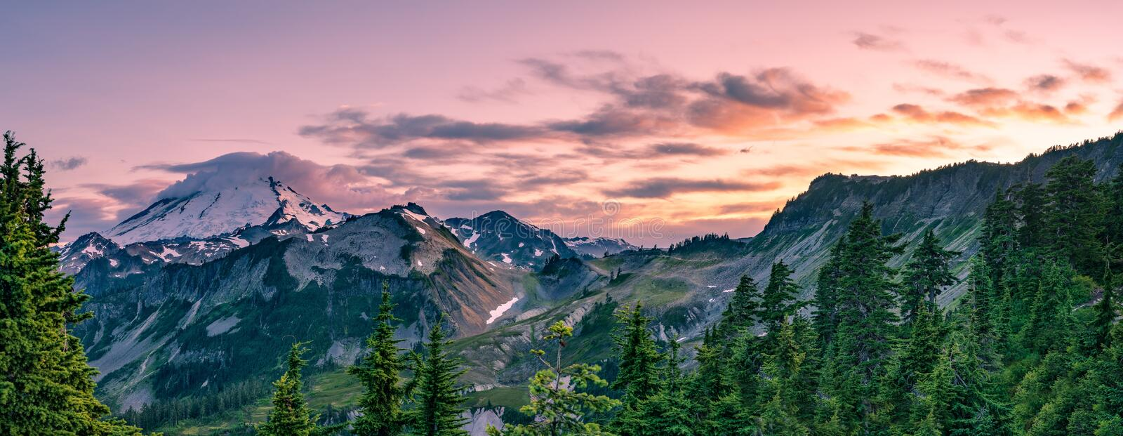 MT BAKER NATIONAL FOREST WA STATE. MT BAKER NATIONAL FOREST AT SUNSET PANO OF MT BAKER royalty free stock photo