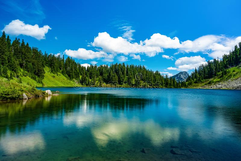 MT BAKER NATIONAL FOREST WA STATE. MT BAKER NATIONAL FOREST TWIN LAKES ON A PARTLY CLOUDY DAY royalty free stock image