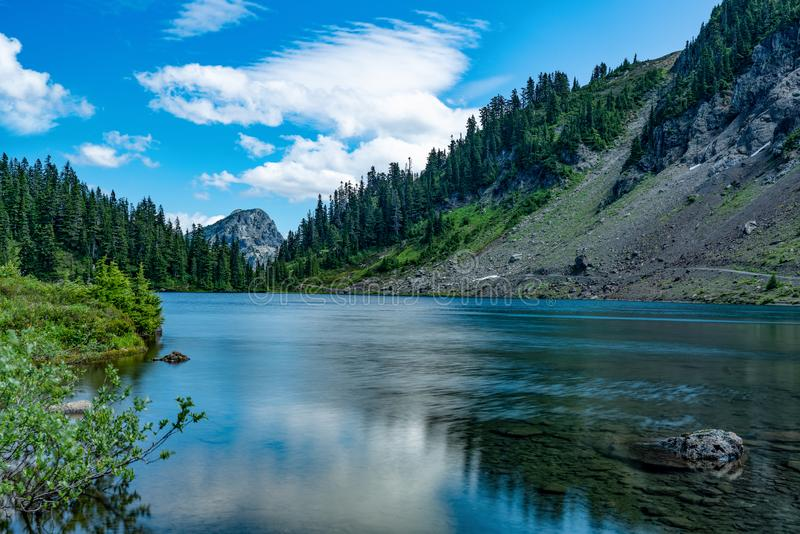 MT BAKER NATIONAL FOREST WA STATE. MT BAKER NATIONAL FOREST TWIN LAKES ON A PARTLY CLOUDY DAY stock images