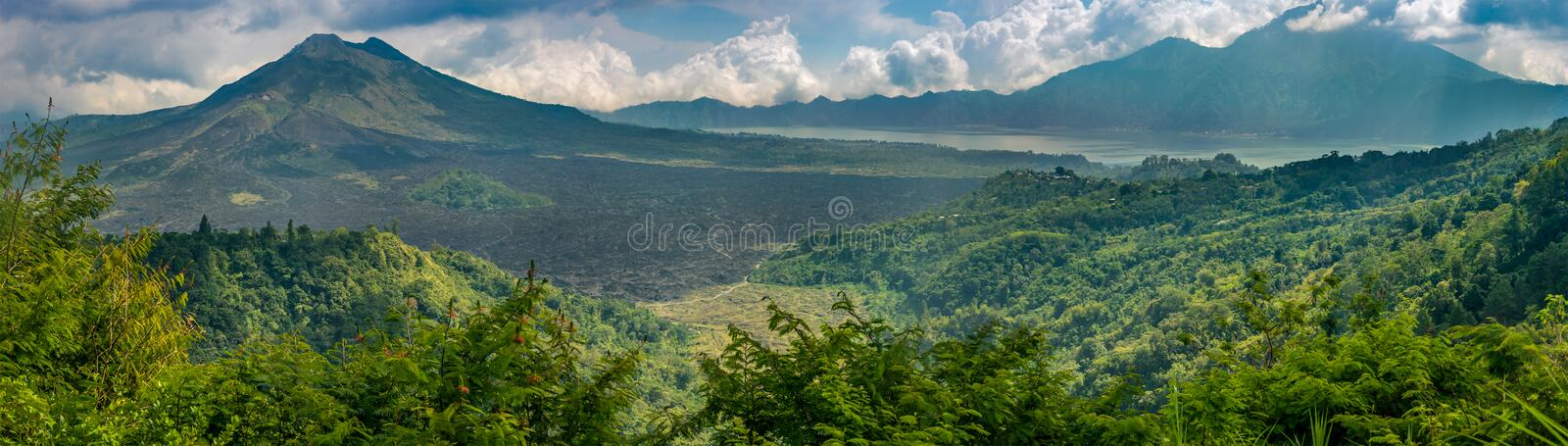 Mt Batur and Mt Agung volcanoes stock image