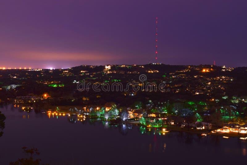 MT Bonnell overziet nacht stock afbeeldingen