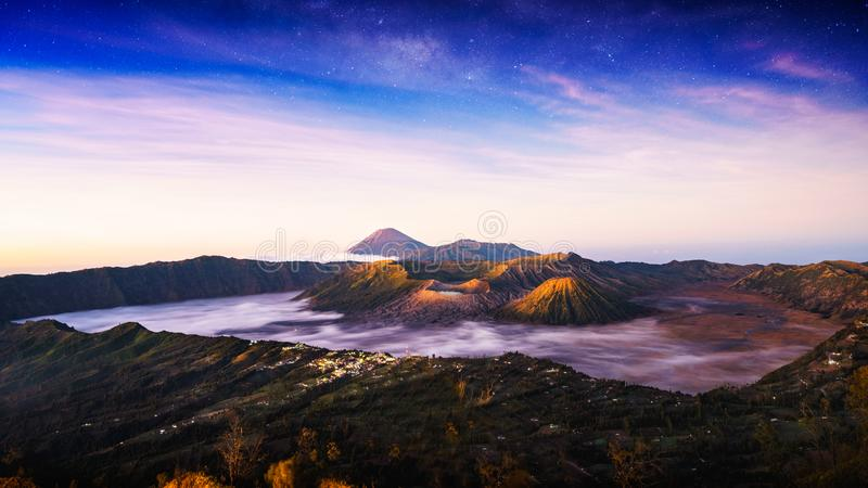 Mt Bromo. Is an active volcano and part of the Tengger massif, in East Java, Indonesia royalty free stock photos