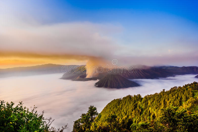 Mt. Bromo at Sunrise over. East Java, Indonesia royalty free stock image