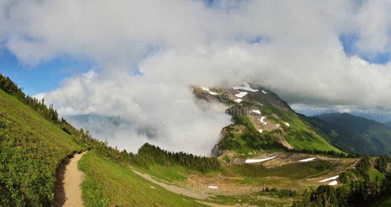 Mt Cheam som fotvandrar slingor, damen Peak, är i bakgrunden royaltyfri fotografi