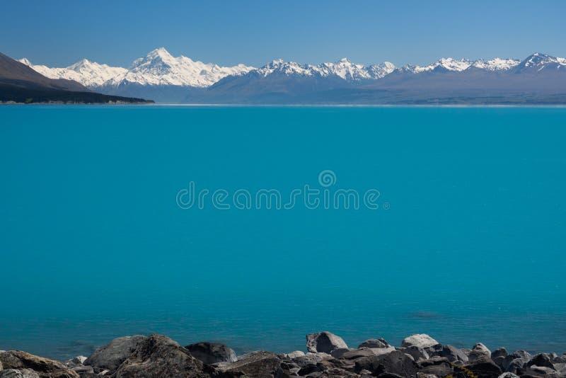 Mt Cook / Aoraki and Lake Pukaki. South Island, New Zealand stock photo