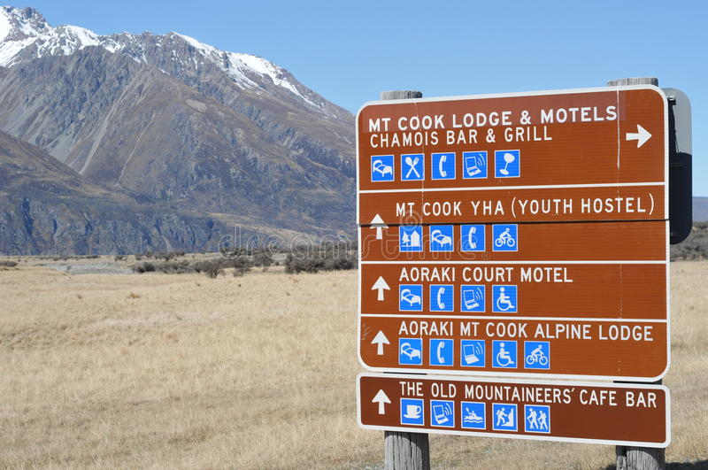 Mt. Cook Road Sign stock images