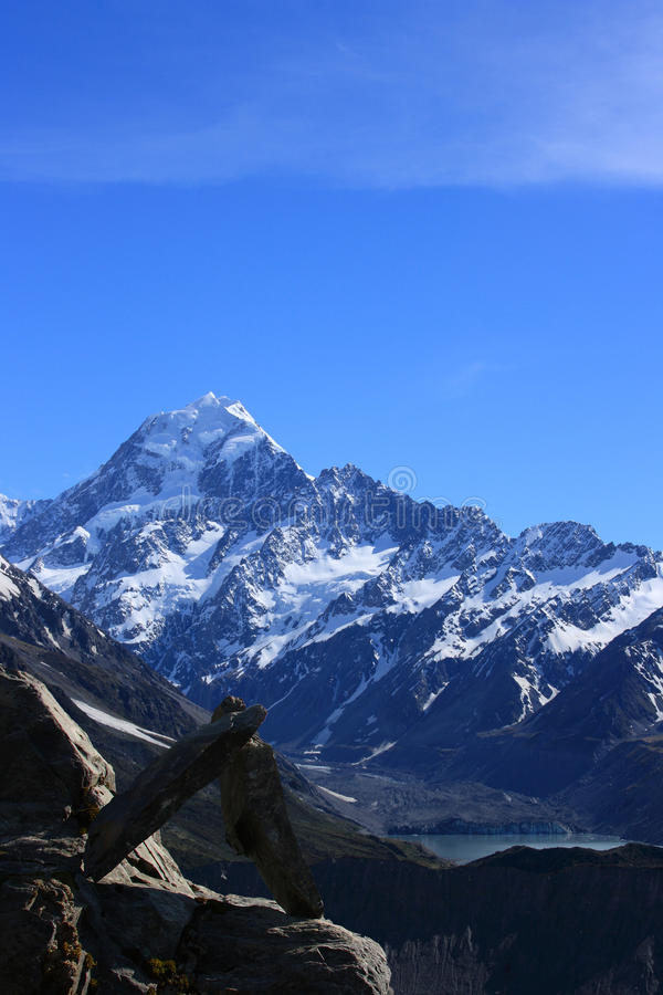 Download Mt Cook and Rock Sculpture stock photo. Image of high - 20251642