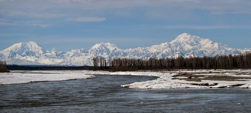 Mt Denali från 3 floder arkivfoto