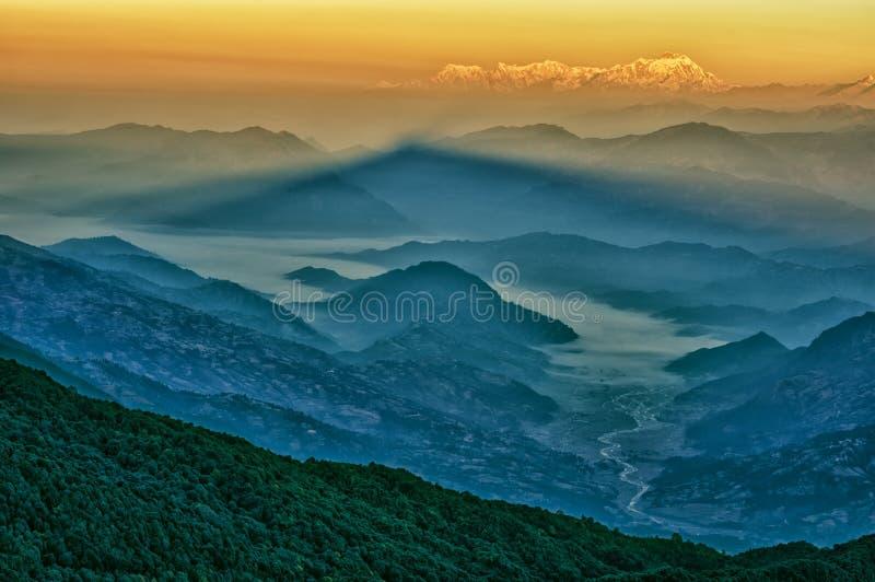 Mt. Dhaulagiri, widok od Mt. Shivapuri zdjęcie royalty free
