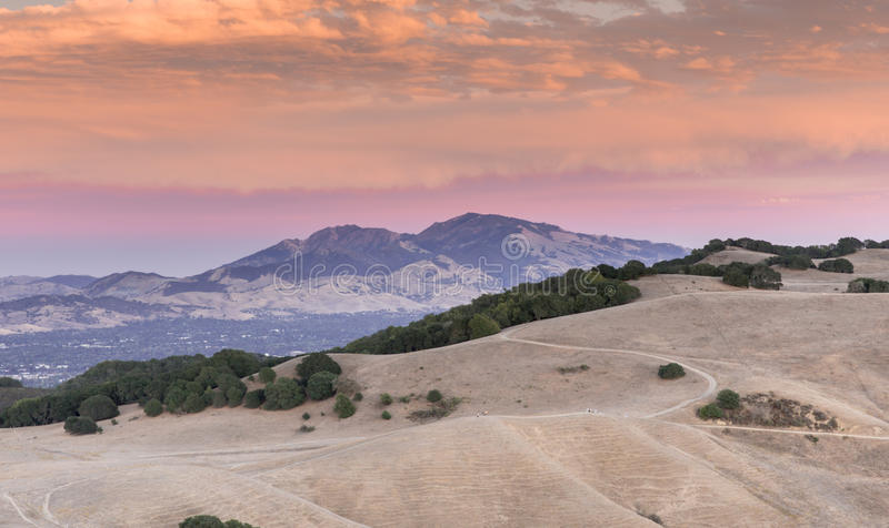 Mt. Diablo Sunset. Contra Costa County, California, USA. Intense Sunset of Diablo Range from Mott Peak of Briones Regional Park in Martinez stock photography