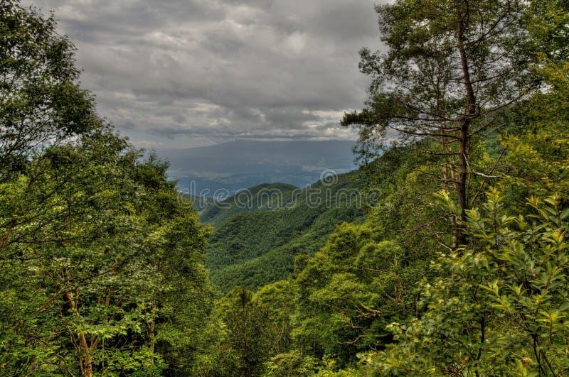 MT Eboshidake maakt deel uit Japanse Alpen in de Prefectuur van Nagano en is 2.066 meters lang stock afbeeldingen
