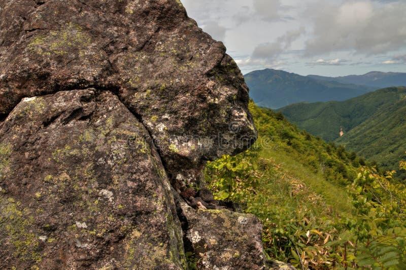MT Eboshidake maakt deel uit Japanse Alpen in de Prefectuur van Nagano en is 2.066 meters lang royalty-vrije stock fotografie