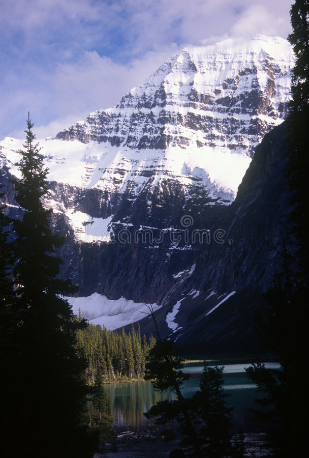 Mt Edith Cavell. In Jasper National Park, Canada is named after a courageous nurse who risked her life to save Allied soldiers during WW1. She was executed by royalty free stock photo