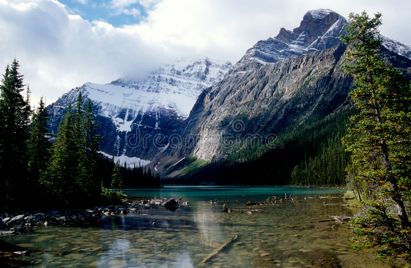 Mt Edith Cavell. In Jasper National Park, Canada is named after a courageous nurse who risked her life to save Allied soldiers during WW1. She was executed by royalty free stock images