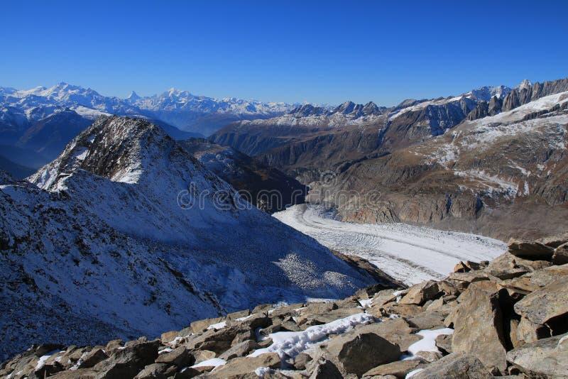从Mt Eggishorn,瑞士阿尔卑斯的看法 免版税库存图片