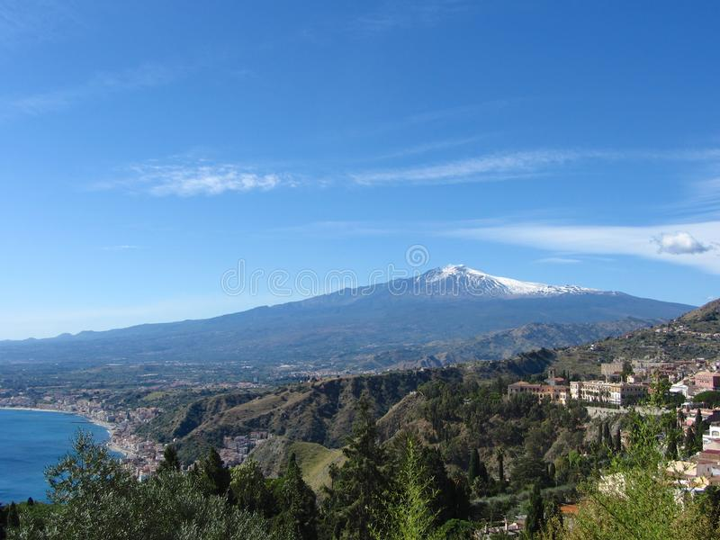 Mt. Etna across the Taormina Valley stock photo