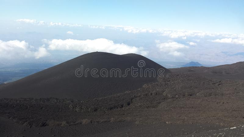 Mt. Etna in the Clouds stock photo