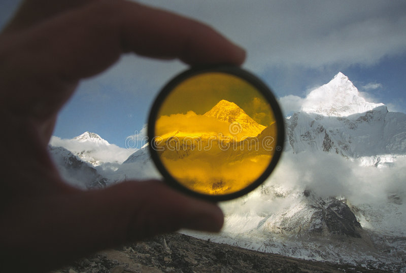Mt. Everest achter filter royalty-vrije stock foto's