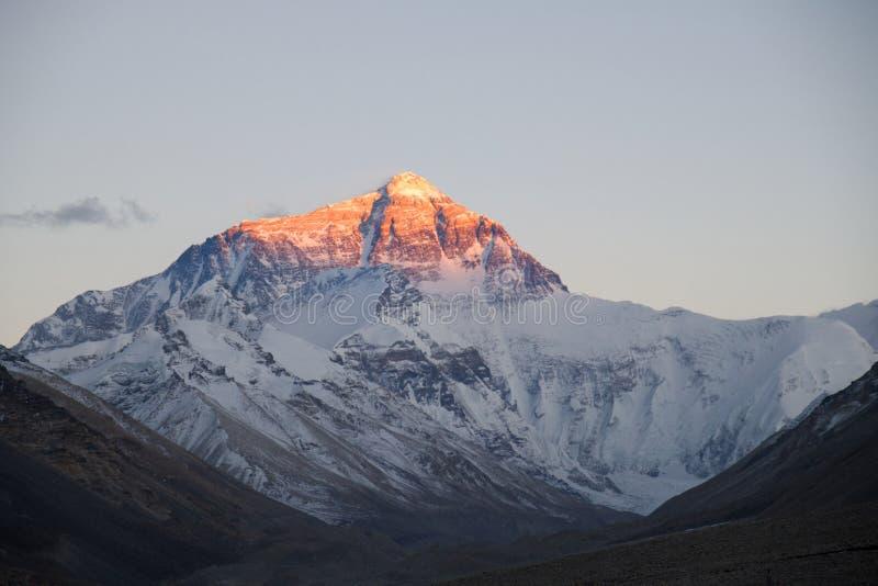 Mt Everest en la puesta del sol del campo bajo tibetano B foto de archivo
