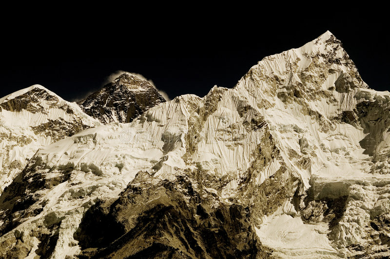Mt. Everest et Mt. Nuptse images stock