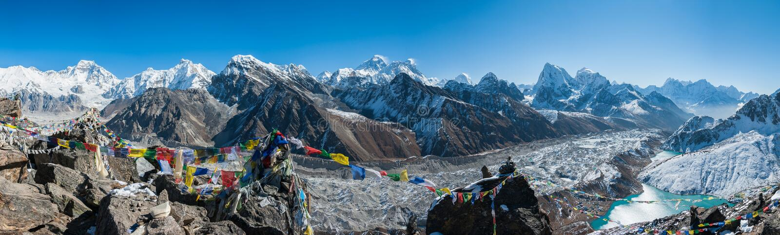Mt. Everest and the himalayas as seen from Gokyo Ri royalty free stock photo