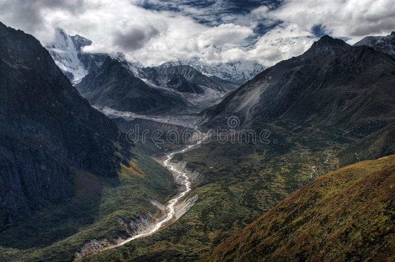 Mt Everest no vale de Kangshung fotografia de stock royalty free