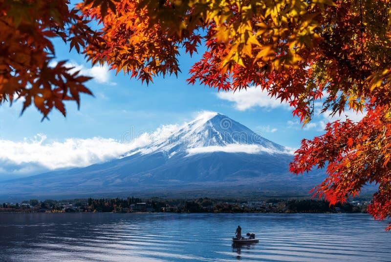 Mt Fuji in autumn view from lake Kawaguchiko royalty free stock images