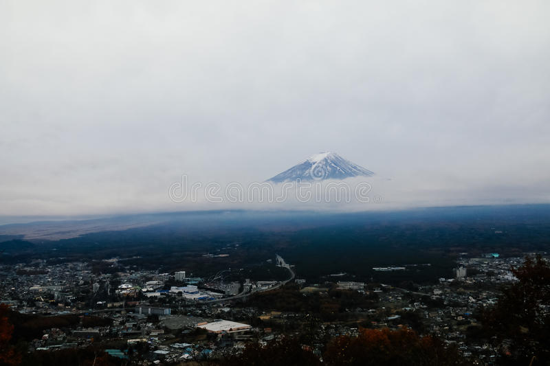 Mt. Fuji background of cloudy stock photography