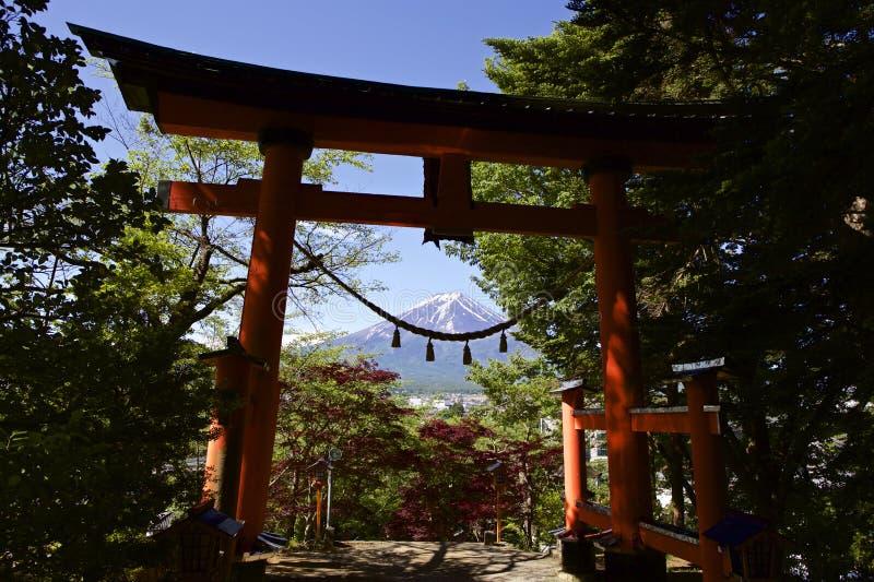Mt Fuji beskådade från en torii royaltyfria foton