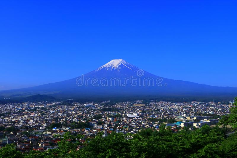 Mt.Fuji of blue sky from Fujiyoshida City Japan. 05/18/2018 royalty free stock photo