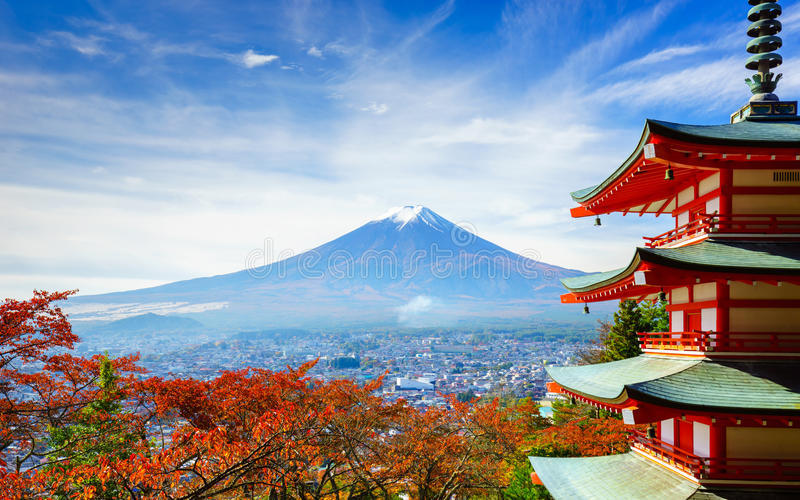 Mt. Fuji with Chureito Pagoda, Fujiyoshida, Japan stock photography
