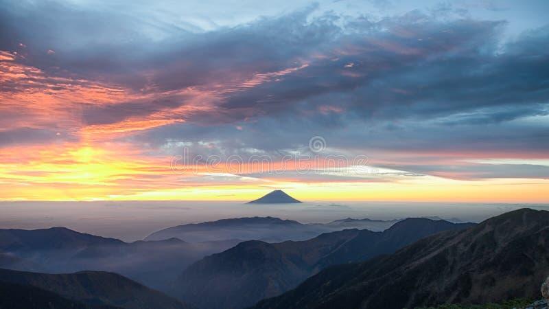 Mt.Fuji and the dawn sky before sunrise. Captured from Kitadake, Manami South Alps, Yamanashi Prefecture, Japan stock photos