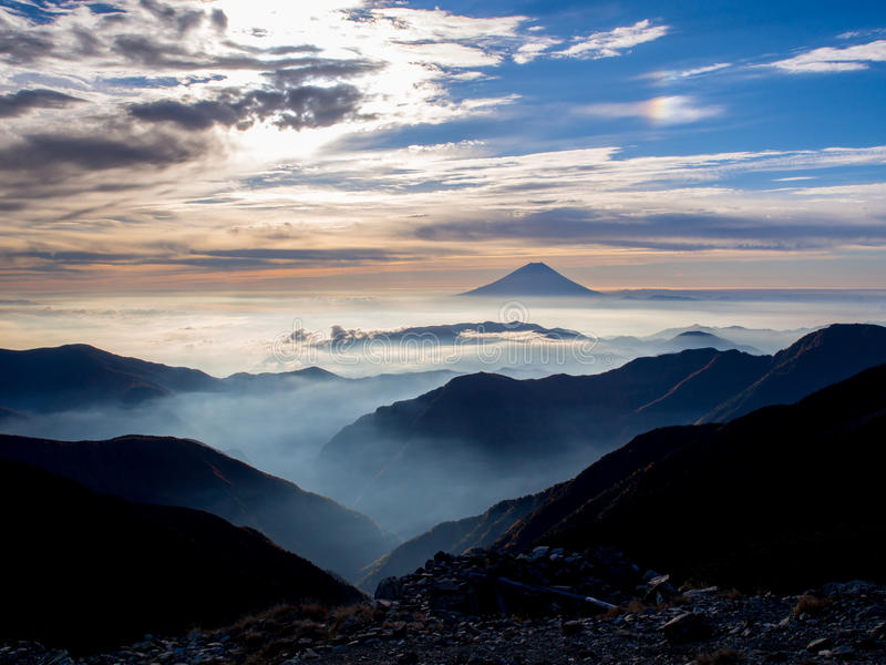 Mt.Fuji and the dawn sky after sunrise. Captured from Kitadake, Manami South Alps, Yamanashi Prefecture, Japan stock photography