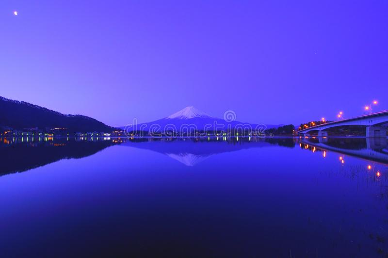 Mt. Fuji at dawn from `Ubuyagasaki` Lake Kawaguchi Japan royalty free stock image