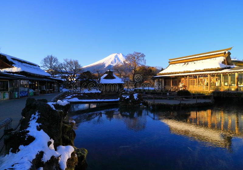 Mt. Fuji early morning midwinter stock photography