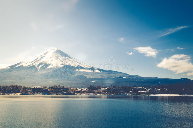 Mt Fuji in the early morning with reflection on the lake kawaguchiko stock photography