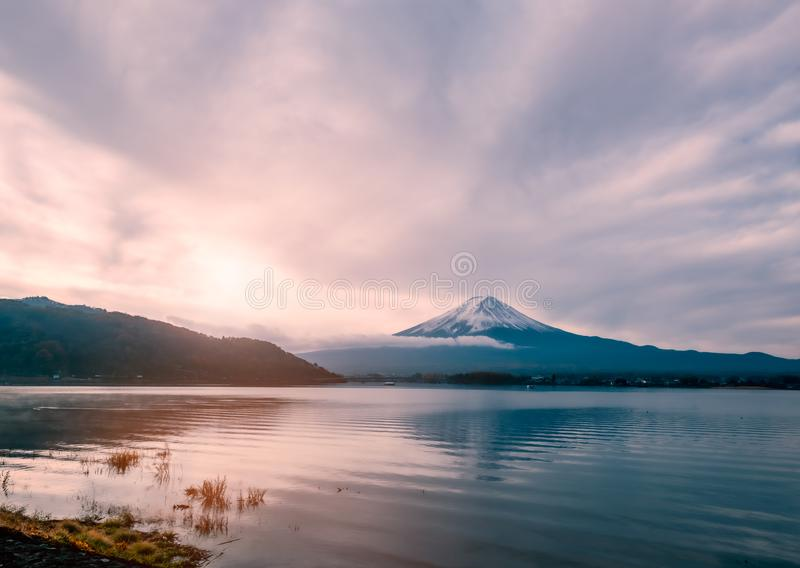 Mt.Fuji at early morning with sunrise stock image