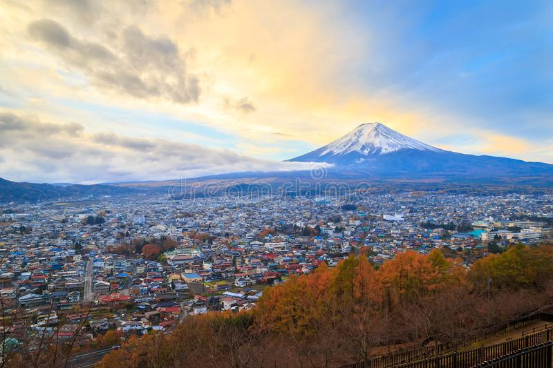 Mt. Fuji. Glows in the morning sun royalty free stock images