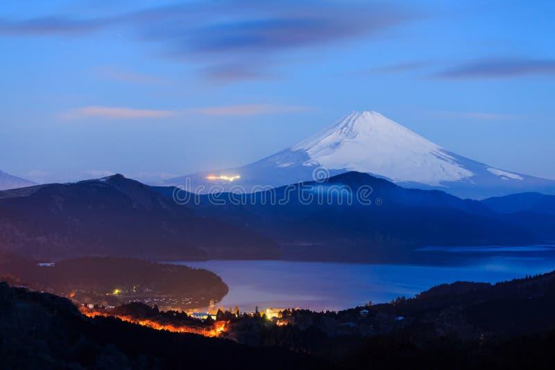 Mt Fuji i jeziorny ashi w wczesnym poranku fotografia royalty free