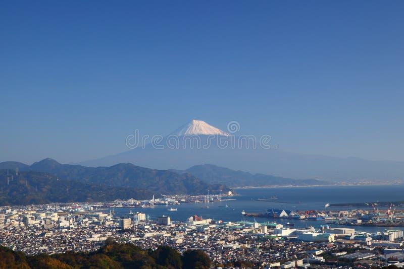 Mt. Fuji i Shimizu port zdjęcie stock