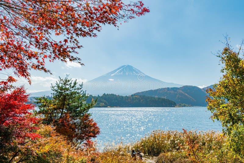 Mt Fuji Japan i höst på kawaguchikosjön arkivbilder