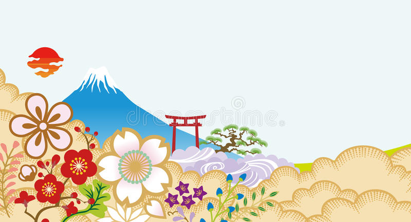 Mt.Fuji and Japanese flowers. Japanese classical background stock illustration