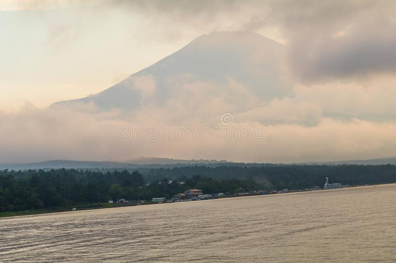 Mt. Fuji and Kawaguchiko Lake , the most famous place in Japan royalty free stock photo