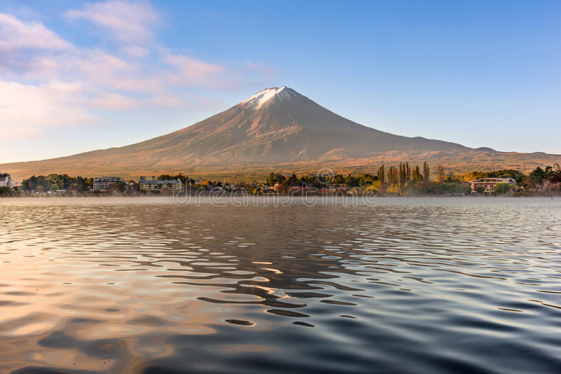 Mt. Fuji on Lake Kawaguchi stock images